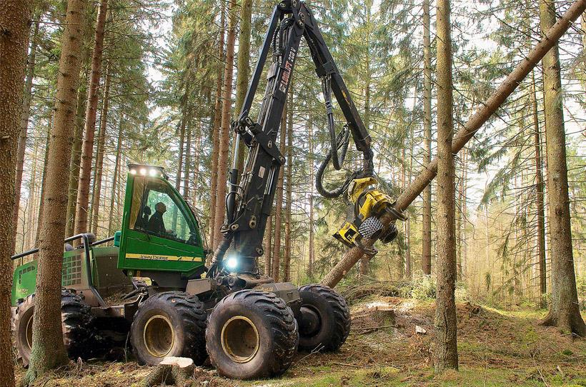 Harvester in den Wäldern der Schleswig-Holsteinischen Landesforsten